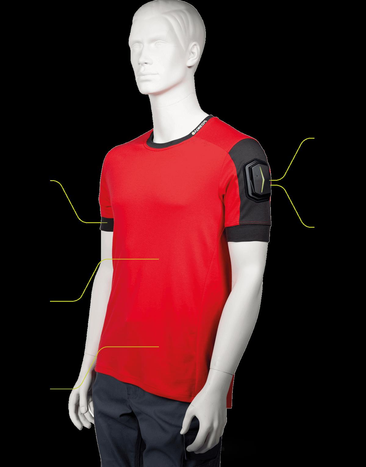 Abbildung des Smart Textile Shirts ANGEL auf einer Schaufensterpuppe