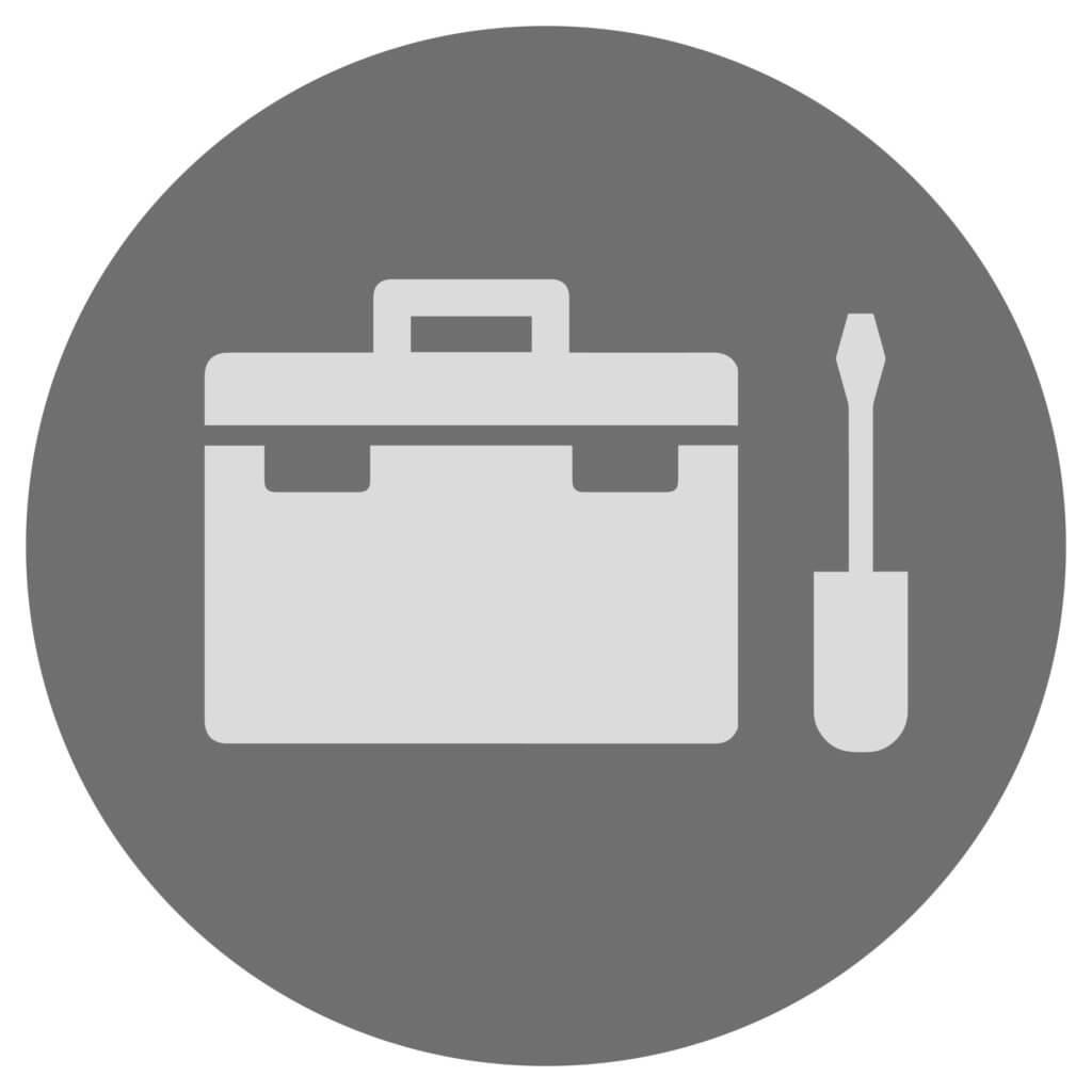 Icon für einen Werkzeugkoffer mit Schraubenschlüssel